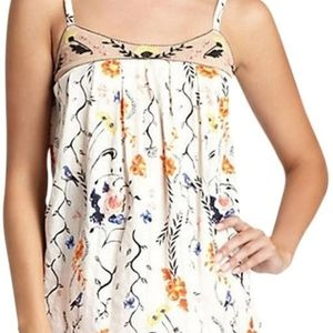 Anthropologie Lilka Pleated Floral Cami Tank Top
